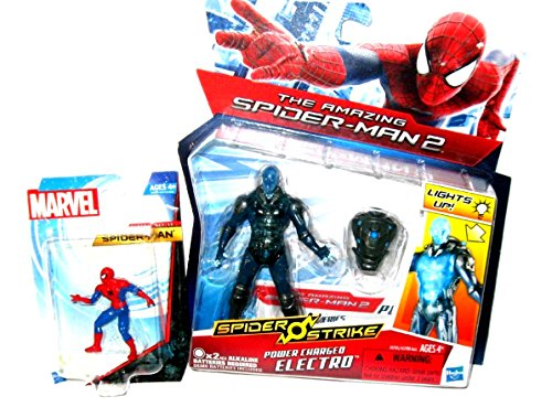"""The Amazing Spider-Man 2"" Spider Strike Series Action Figure - POWER CHARGED ELECTRO with Light-Up Backpack PLUS BONUS: Spiderman Clasic Series Collectible Mini Figure!!"