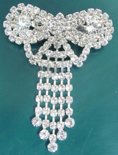 Crystal Rhinestone Bridal Silver Rhine stone Fringe Brooch Pin