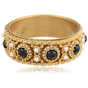 Juicy Couture Jewelry Black Cabochon Bangle Bracelet, 2.5