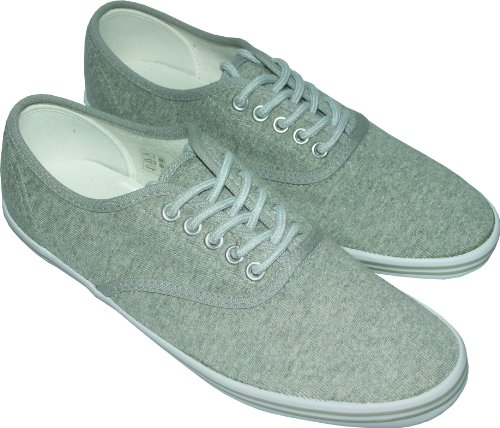 Men's Canvas Lace Up Trainers Boat Shoes Grey