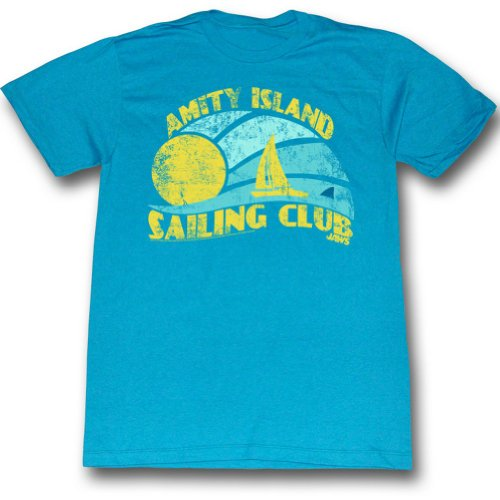 Official Jaws - Mens Sail T-Shirt in Turquoise Heather - S to XXL