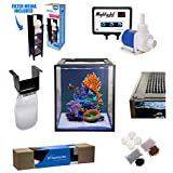 Innovative Marine Nuvo Fusion PRO 10 Gallon AIO (all-in-one) Aquarium with Mighty Jet DC Return Pump, Custom Caddy (Media Included), Filter Sock, Preinstalled Leveling Mat, Assembled Mesh Screen Cover (Color: black, Tamaño: 10 gallon)