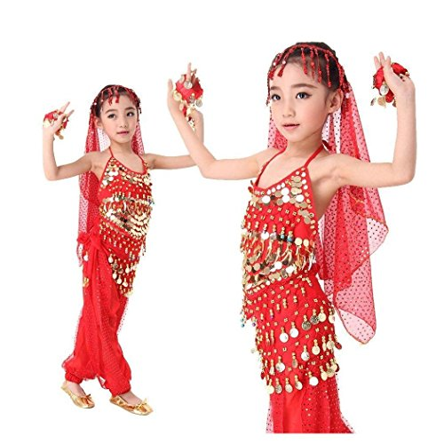Red Children Kids Belly Dance Set Clothes India Performance Wear Costume Items type:Top + Pant + Veil Size:XL--suitable for height (Dance Costumes Performance Wear)