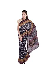 Aaradhya Bagru Black And Yellow Print Cotton Saree For Women