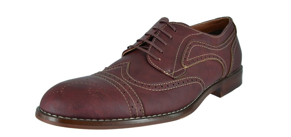 FERRO ALDO Men's Simple Perforated Oxford Contrast Stitching Lace Up Round Toe Dress Shoes 1