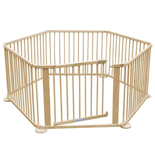 SWT Large Foldable Baby Kids Wooden Playpen & Room Divider Heavy Duty (6-Side)