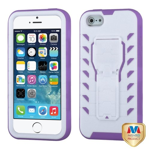Cell Accessories For Less (Tm) Apple Iphone 5S/5 Ivory White/Electric Purple Tuff Treadz Hybrid Case Cover + Bundle (Stylus & Micro Cleaning Cloth) - By Thetargetbuys
