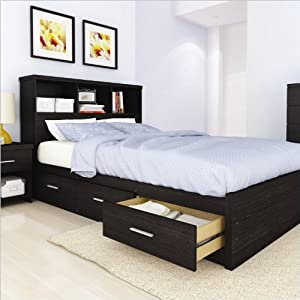 Amazon Sonax Willow Queen Storage Bed with Bookcase