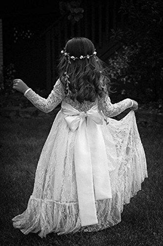 Wallbridal Vintage Long Sleeves Soft Princess Lace Flower Girl Junior Girl Dress 2