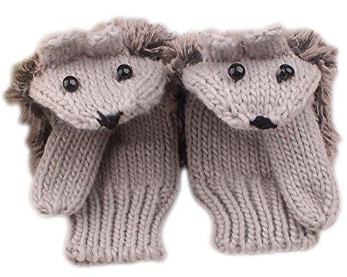 X&F Women's Cute Hedgehog Winter Knitted Cotton Mittens Girls Thick Gloves Light Grey (Adult Hedgehog)