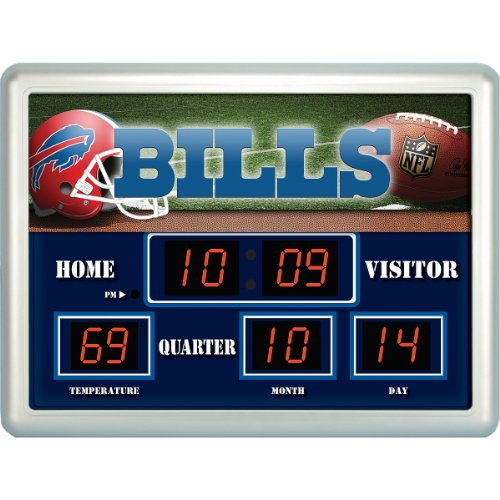 Team Sports Buffalo Bills 14x19 Scoreboard/Clock/Thermometer