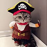 Idepet(TM) New Funny Pet Clothes Caribbean Pirate Dog Cat Costume Suit Corsair Dressing up Party Apparel Clothing for Cat Dog Plus Hat (M)