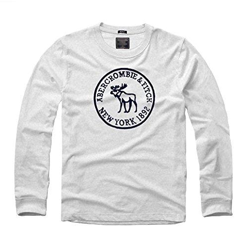 """Maniche Lunghe T-Shirt Girocollo In Cotone Che Basa La Camicia Primavera e In Autunno Men """"s (Bianca)"""