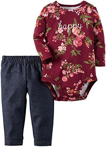 Carter's Baby Girls Bodysuit Pant Sets, Floral, 24 Months