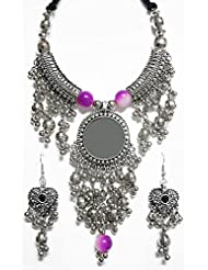 DollsofIndia Metal Necklace With Jhalar Pendant And Earrings - White Metal - White