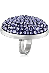 "Tarina Tarantino ""Iconic"" Large Oval Mod Style Pavé In Lilac Crush Ring"