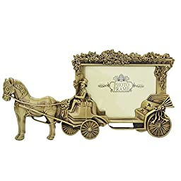 Gift Garden Horse Carriage Metal Picture Frame 3.5 x 5 Inch