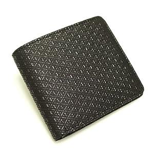 [古都印伝] 日本製 本革 二つ折り財布 ひょうたん ユニセックス 印伝 漆 和柄 (ブラック)