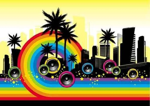 Sky Wall Decals City Musical Rainbow - 18 Inches X 13 Inches - Peel And Stick Removable Graphic