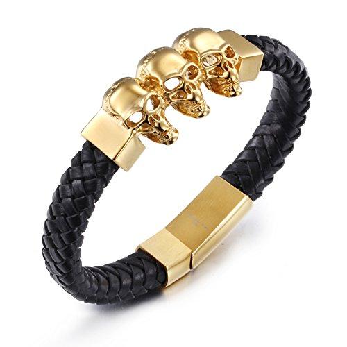YSM cinturino in pelle intrecciata 220 millimetri bracciale in acciaio Triple capo Skull braccialetto 23 millimetri di larghezza Stylish Men (Black + Gold)