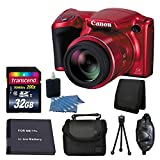 Canon PowerShot SX410 IS Digital Camera Body(Red) + SLR Camera Case + Transcend 32GB SDHC Memory Card + Tri-fold Card Holder + 3 Piece Cleaning Kit + Extra Battery + Deluxe Accessory Bundle