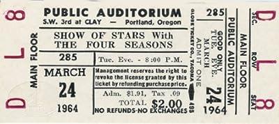 FOUR SEASONS FRANKIE VALLI 1964 Unused Concert Ticket