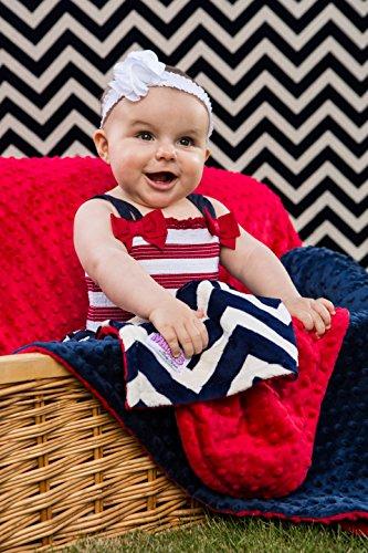 Elonka Nichole Baby Boy Original Mimi Receiving Blanket, Navy Chevron Nautical - 1