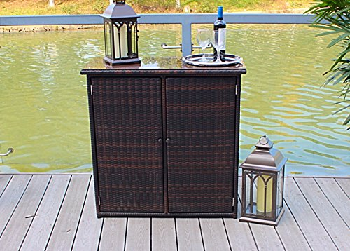 Outdoor Aluminum and Wicker Console Patio Table - Brown (Patio Console Table compare prices)