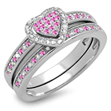 buy Sterling Silver Pink Sapphire & White Diamond Heart Shaped Ring Set (Size 6)