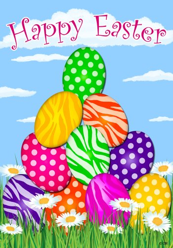 Custom Decor Easter Welcome Flag Zebra Eggs