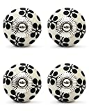 Knobs & Hooks Ceramic Cabinet Knob; White+Black; Set of four pieces
