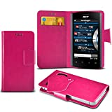 (Hot Pink) Acer Liquid mt Super Thin Faux Leather Suction Pad Wallet Case Cover Skin With Credit/Debit Card Slots By Spyrox