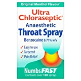 6 x Ultra Chloraseptic Throat Spray Menthol 15ml