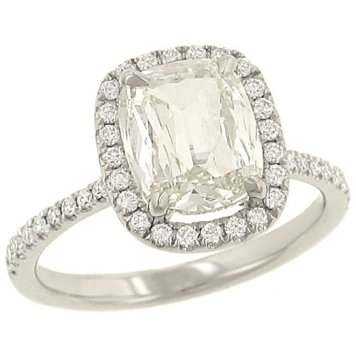 Cushion Cut & Pave Diamond Halo Engagement Ring 2.36ct