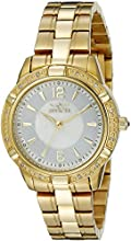 Invicta Women's Quartz Watch with Mother Of Pearl Dial Analogue Display and Gold Stainless Steel Gold Plated Bracelet 18034