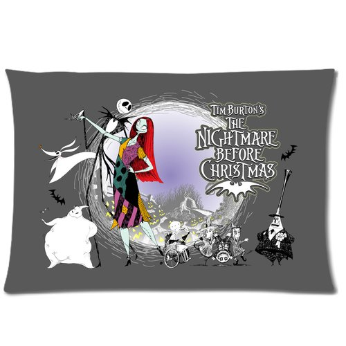 Generic Gray Color The Nightmares Before Christmas Role Cotton And Polyester Rectangle Standard Zippered Pillowcases Case 20 By 26 Inch front-901343