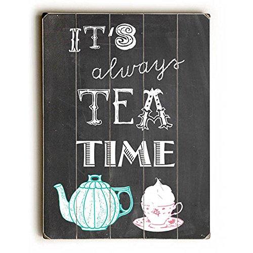 """Tea Time by Artist Claudia Schoen 9""""x12"""" Solid Wood Sign Art - Claudia Schoen"""