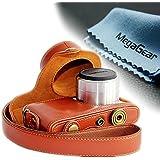 MegaGear Leder Kameratasche Spiegelreflexkamera für Samsung NX Mini 9-27mm (Brau)