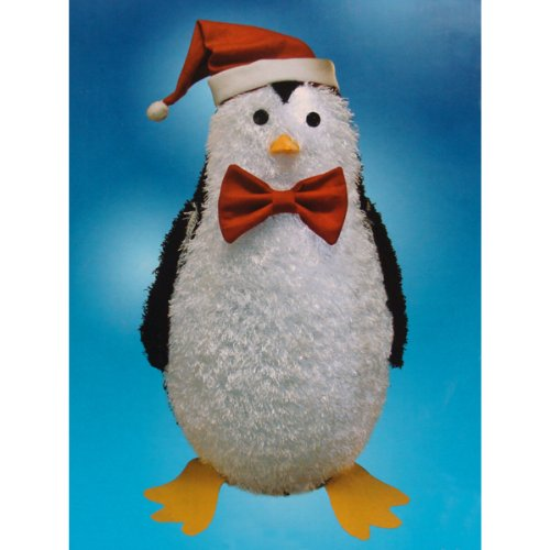 36 pre lit led outdoor chenille penguin christmas yard art decoration - Penguin Outdoor Christmas Decorations