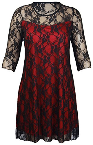 New Womens Contrast Colour Lace Floral 3/4 Sleeve Evening Party Dress (16, Black/Red)