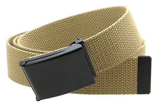 "Canvas Web Belt Flip-Top Black Buckle/Tip Solid Color 50"" Long 1.5"" Wide (Khaki)"