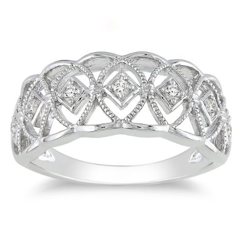 Sterling Silver 1/10 CT TDW Diamond Fashion Ring (H-I, I3)