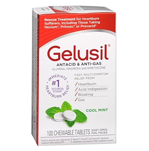 Gelusil Antacid, Anti-Gas Chewable Tablets, Mint 100 ea (Antacid Gas compare prices)