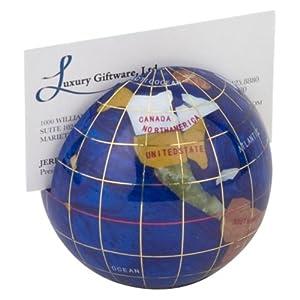 lapis 3 in gemstone globe paperweight card