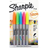 Sharpie Neon Fine Point Permanent Markers, 5 Colored Ink Markers