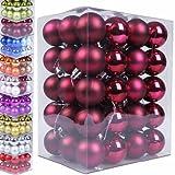 60 Weihnachtskugeln Box Christbaumschmuck aus Kunststoff - Farb und Größenwahl