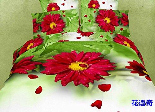 Joybuy 3D Oil Beddint Set - Reactive Printed 3D Bed Set 3D Bedding Set Linen Cotton Queen Bedclothes Duvet Cover 3D Bedsheet