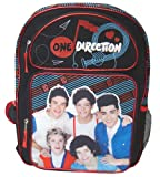 One Direction 1D 16&quot; Black/Red/Blue Glitter Large Backpack