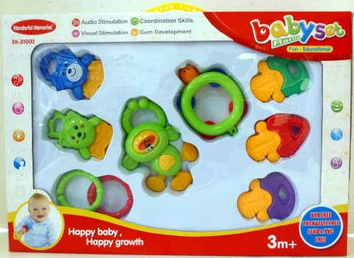 Wonderful Memories 8 Piece BPA-Free Baby Rattles in Box