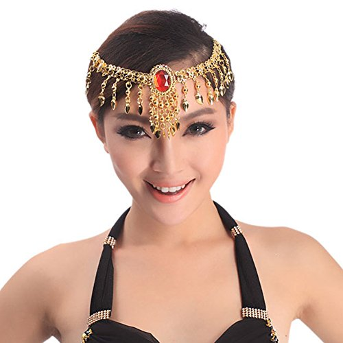 Vakind® 2 IN 1 Belly Dance Costume Bead Head Chain Necklace Imitation Gem Headwear